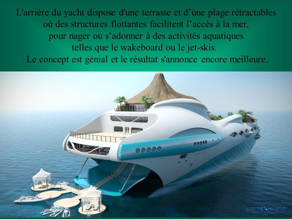 L arrière du yacht dispose d une terrasse et d'une plage rétractables
