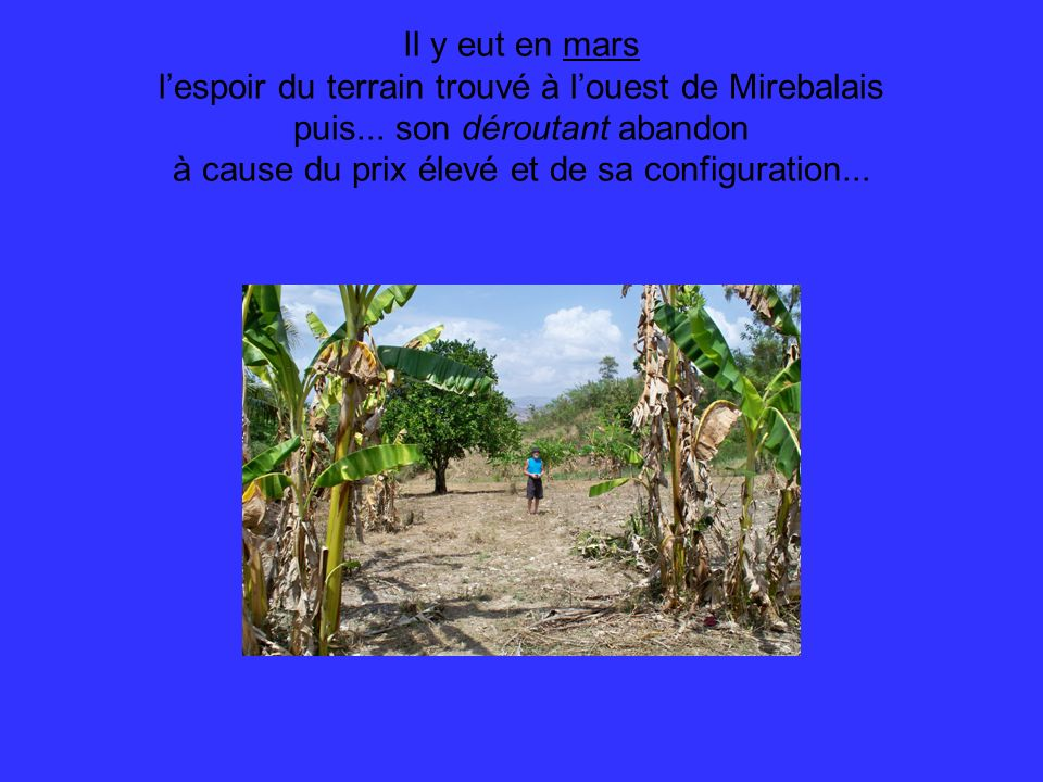 l'espoir du terrain trouvé à l'ouest de Mirebalais