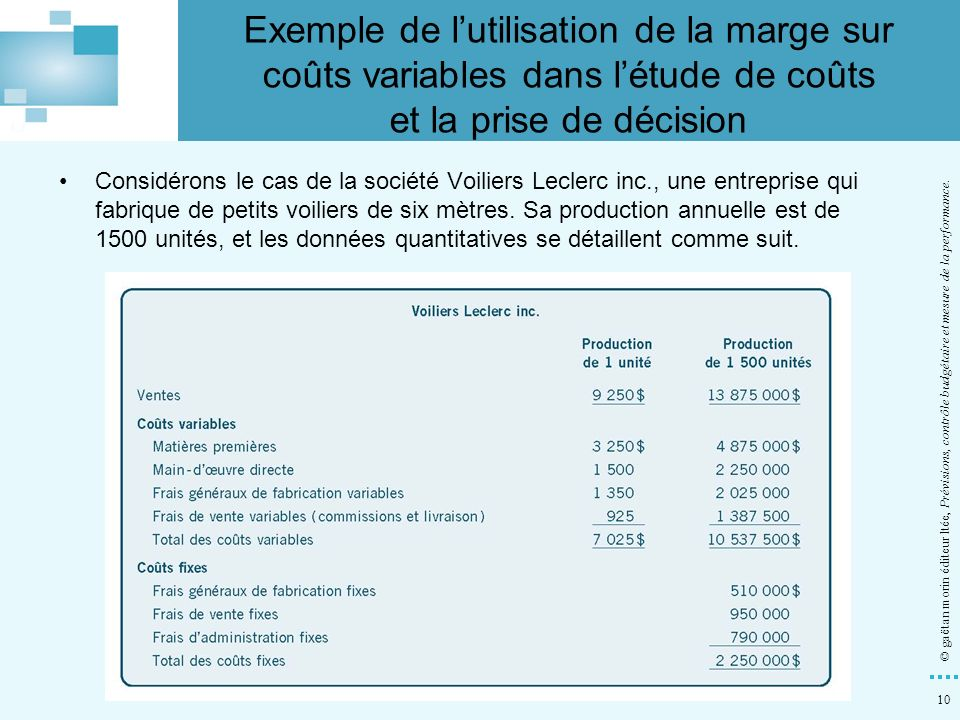 Exemple de l'utilisation de la marge sur coûts variables dans l'étude de coûts et la prise de décision