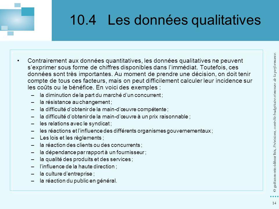 10.4 Les données qualitatives
