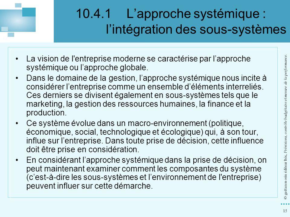 10.4.1 L'approche systémique : l'intégration des sous-systèmes
