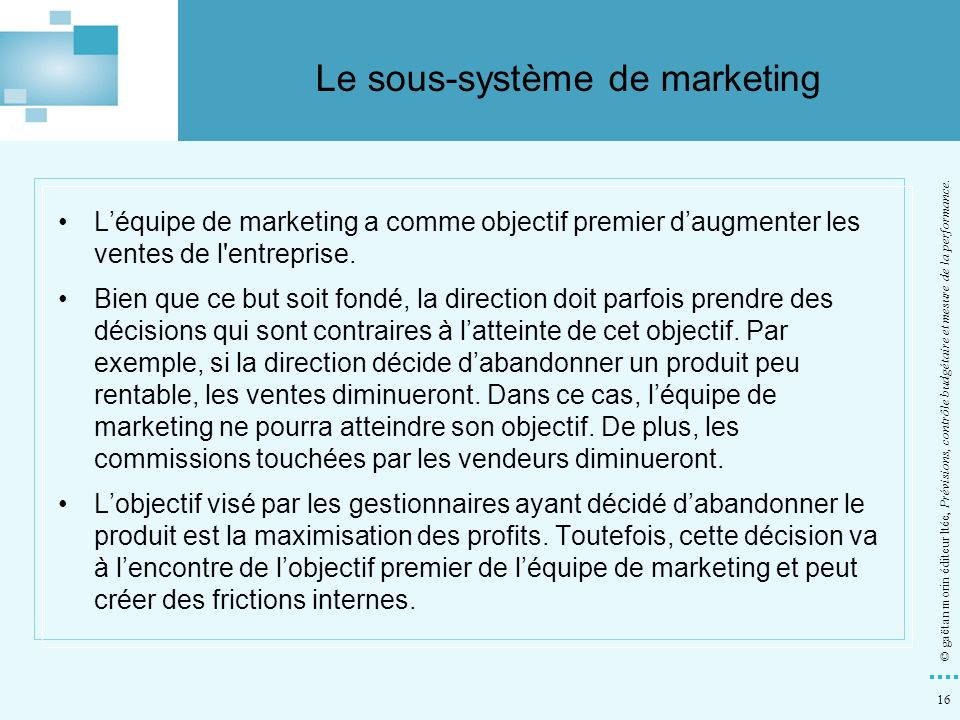 Le sous-système de marketing