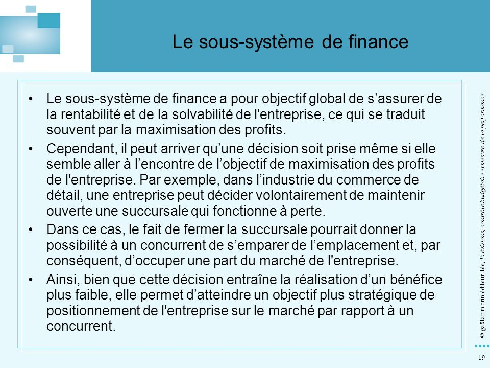 Le sous-système de finance