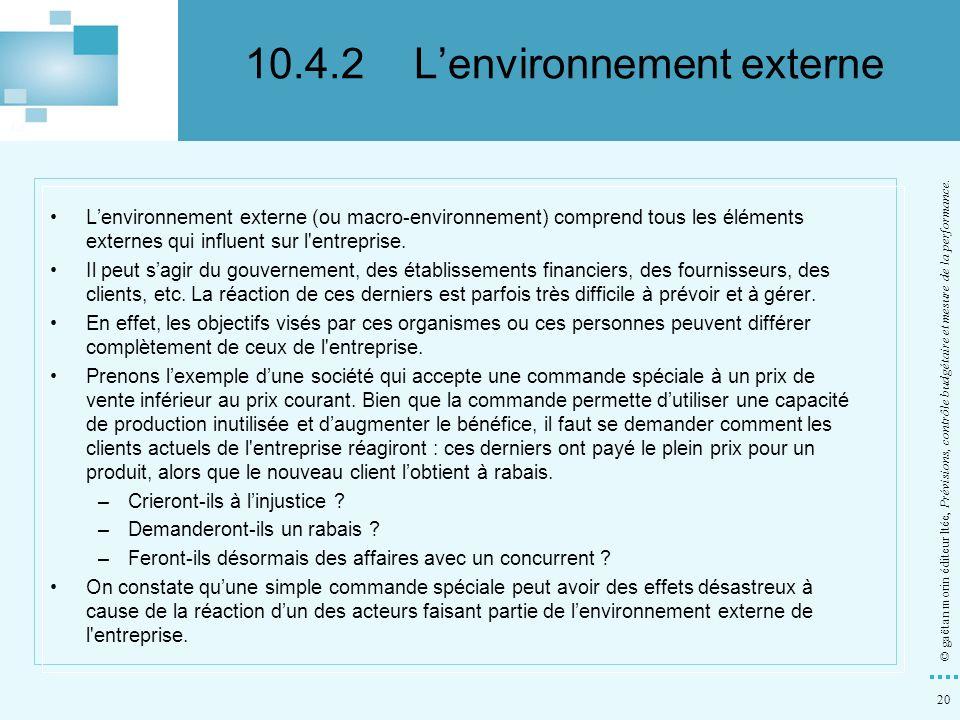 10.4.2 L'environnement externe