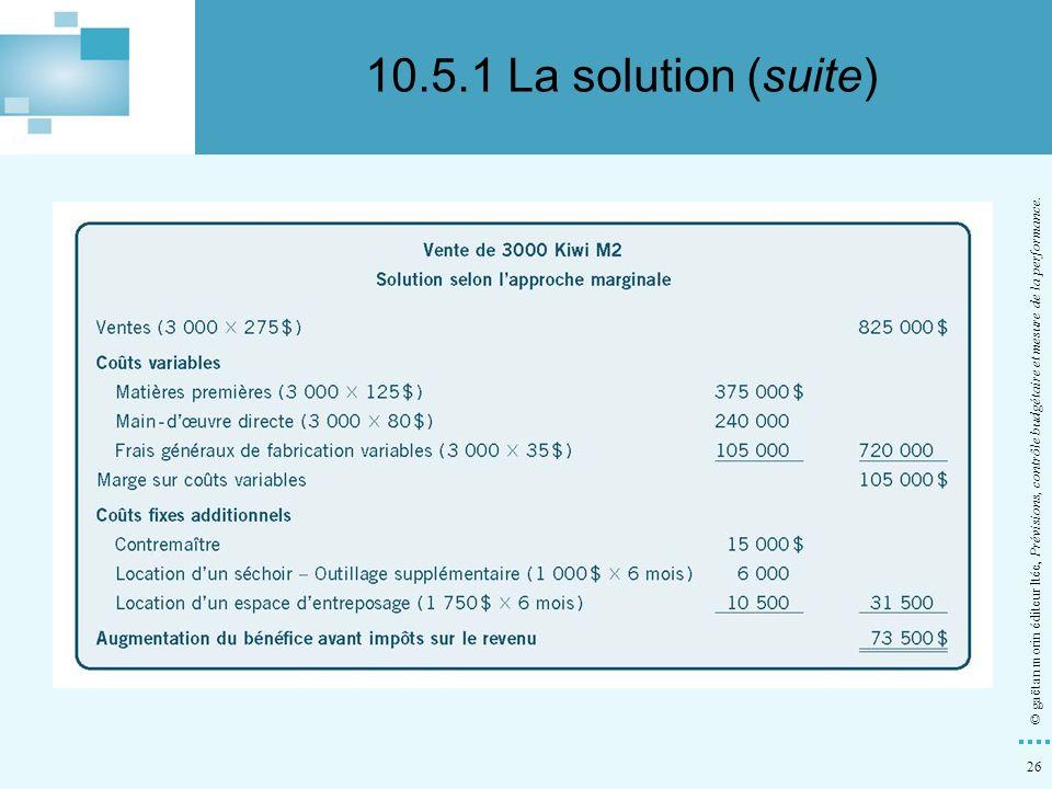 10.5.1 La solution (suite) © gaëtan morin éditeur ltée, Prévisions, contrôle budgétaire et mesure de la performance.