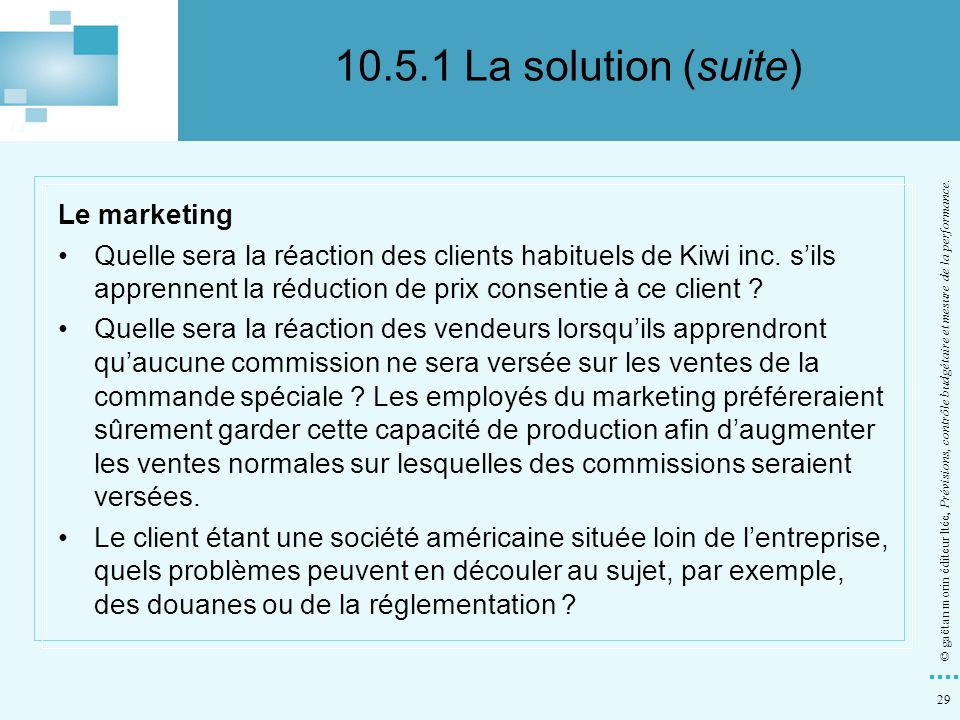 10.5.1 La solution (suite) Le marketing