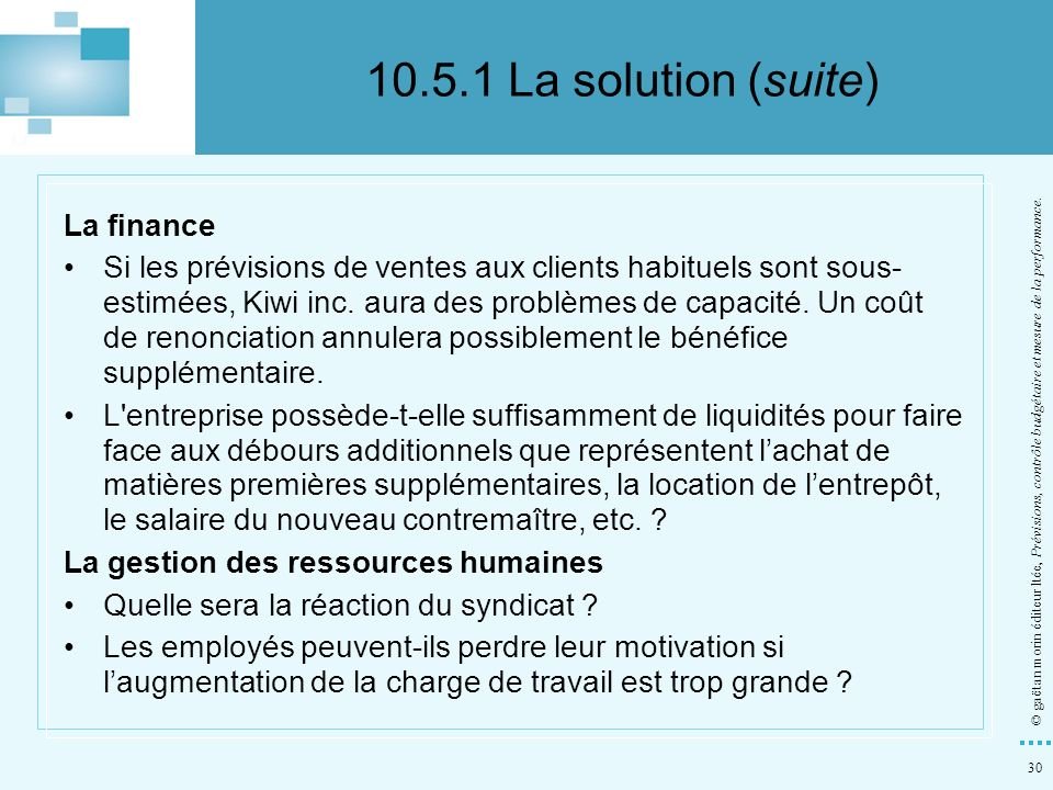 10.5.1 La solution (suite) La finance