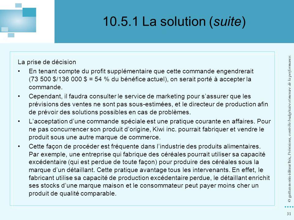 10.5.1 La solution (suite) La prise de décision