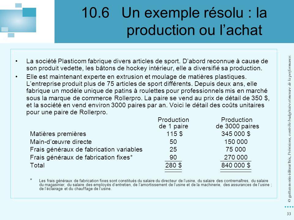 10.6 Un exemple résolu : la production ou l'achat