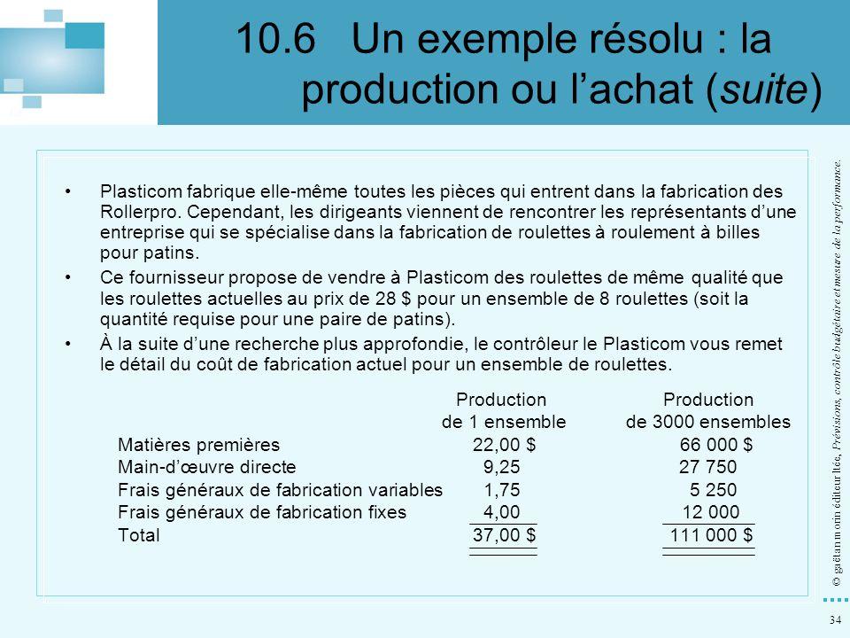 10.6 Un exemple résolu : la production ou l'achat (suite)