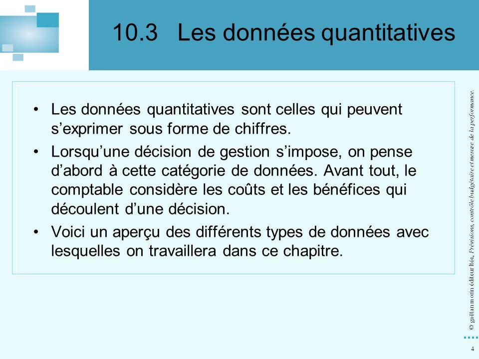 10.3 Les données quantitatives