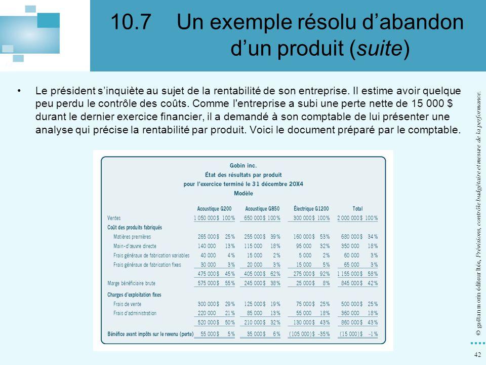 10.7 Un exemple résolu d'abandon d'un produit (suite)