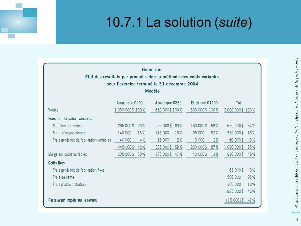 10.7.1 La solution (suite) © gaëtan morin éditeur ltée, Prévisions, contrôle budgétaire et mesure de la performance.