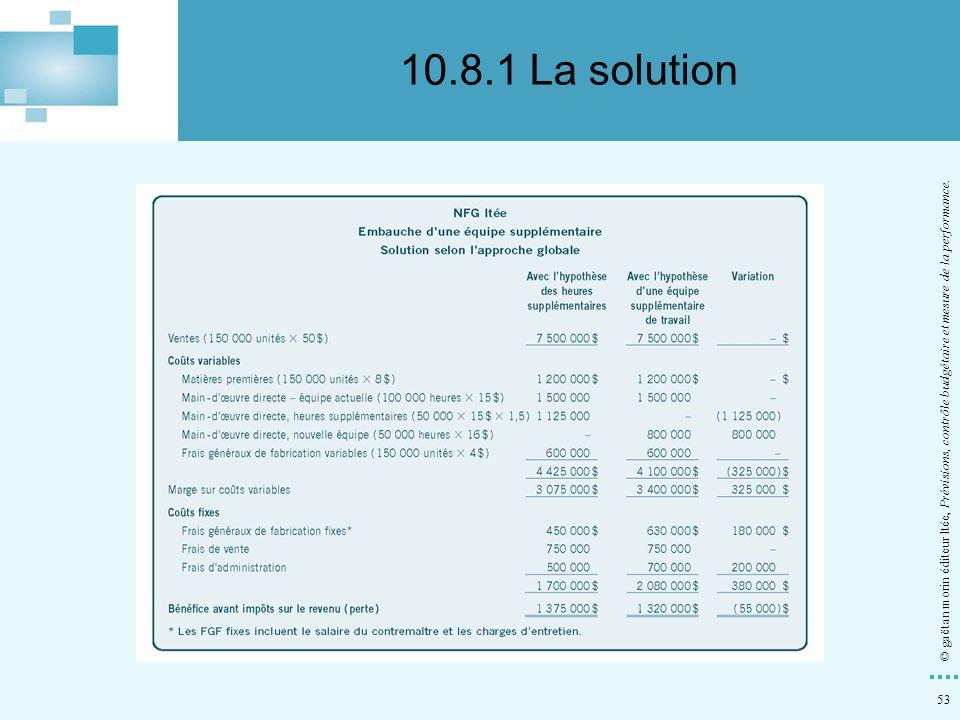 10.8.1 La solution © gaëtan morin éditeur ltée, Prévisions, contrôle budgétaire et mesure de la performance.