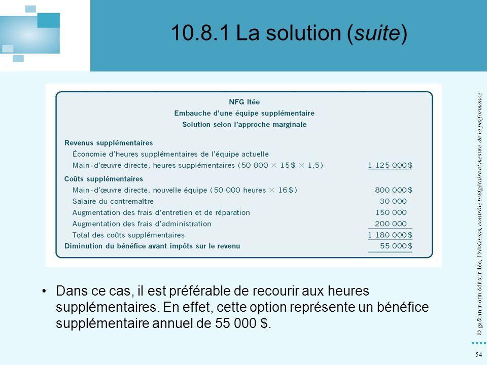 10.8.1 La solution (suite) © gaëtan morin éditeur ltée, Prévisions, contrôle budgétaire et mesure de la performance.