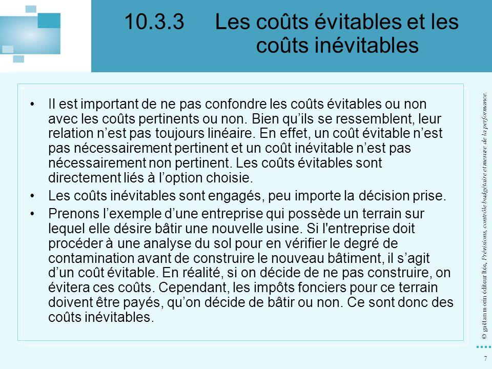 10.3.3 Les coûts évitables et les coûts inévitables