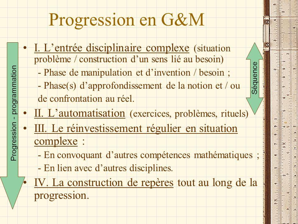 Progression en G&M I. L'entrée disciplinaire complexe (situation problème / construction d'un sens lié au besoin)