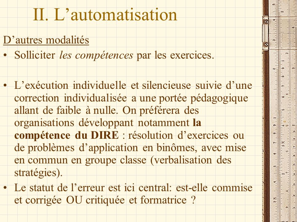 II. L'automatisation D'autres modalités