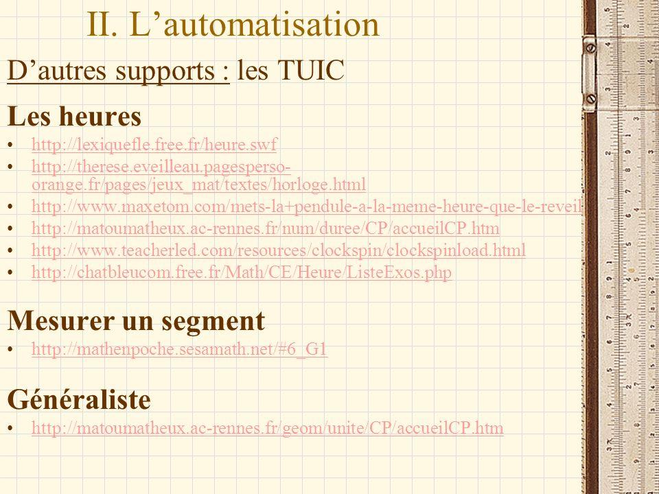 II. L'automatisation D'autres supports : les TUIC Les heures