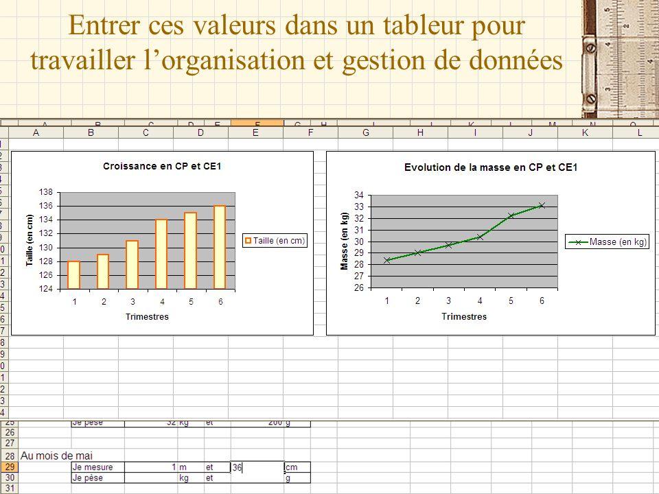 Entrer ces valeurs dans un tableur pour travailler l'organisation et gestion de données