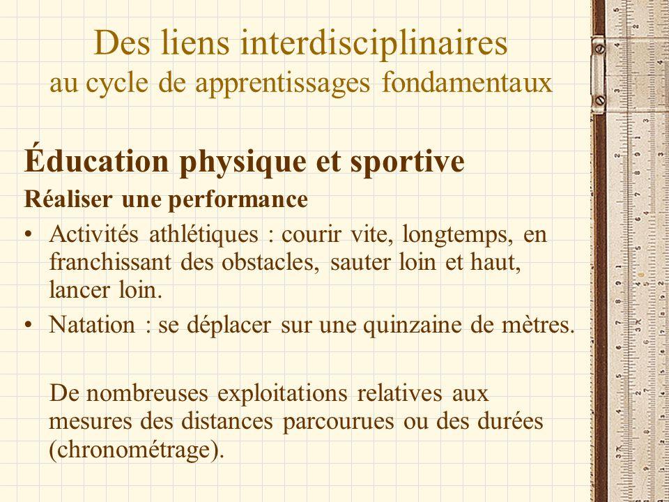 Des liens interdisciplinaires au cycle de apprentissages fondamentaux