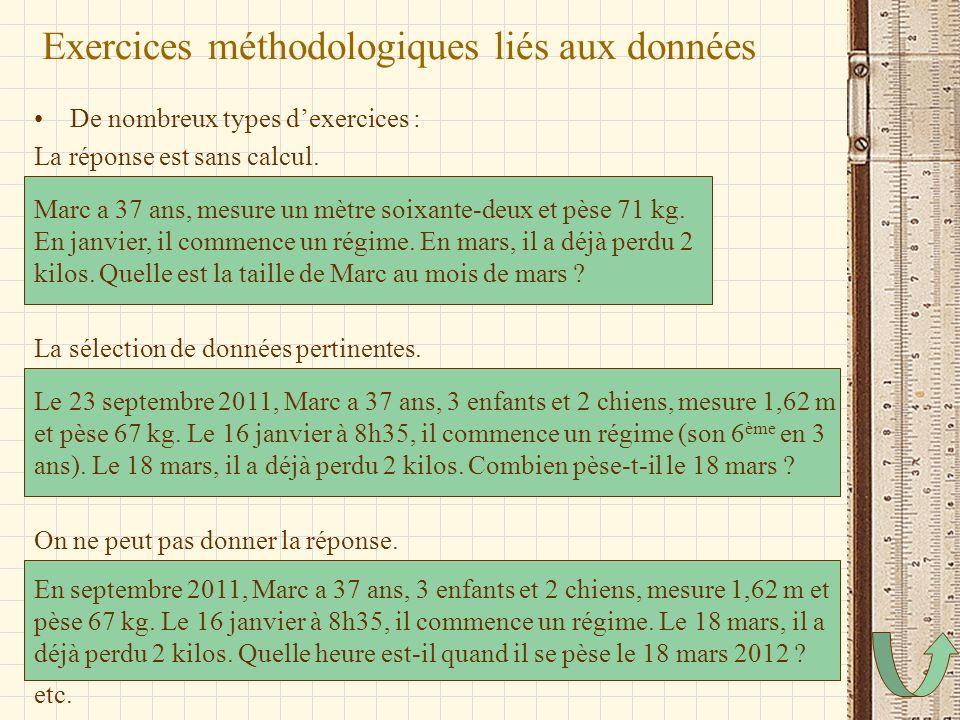 Exercices méthodologiques liés aux données