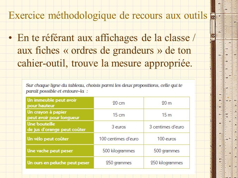 Exercice méthodologique de recours aux outils