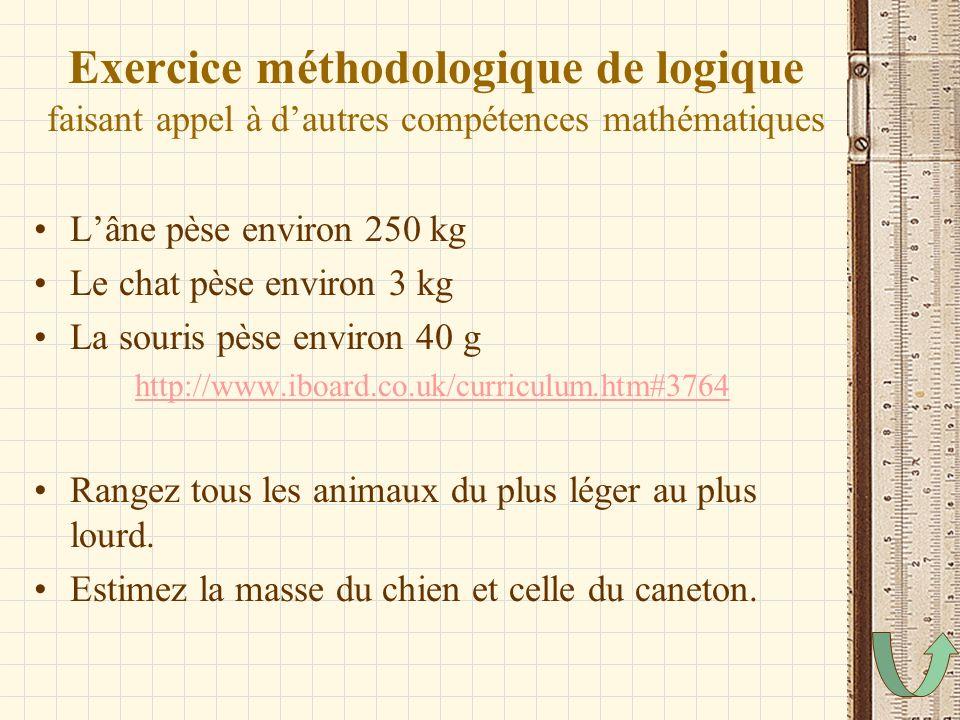 Exercice méthodologique de logique faisant appel à d'autres compétences mathématiques