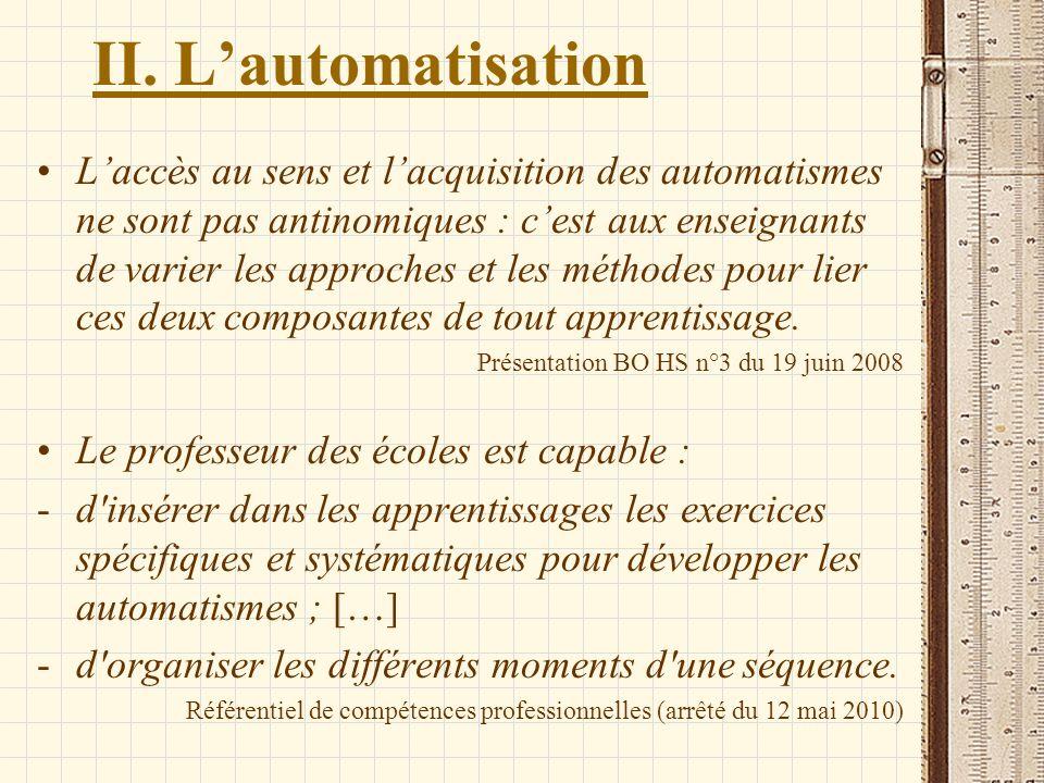 II. L'automatisation