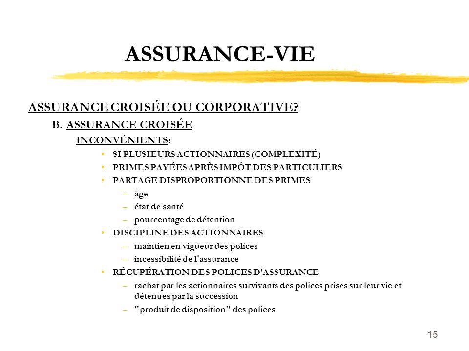 ASSURANCE-VIE ASSURANCE CROISÉE OU CORPORATIVE B. ASSURANCE CROISÉE