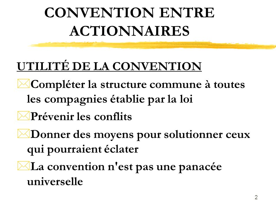 CONVENTION ENTRE ACTIONNAIRES