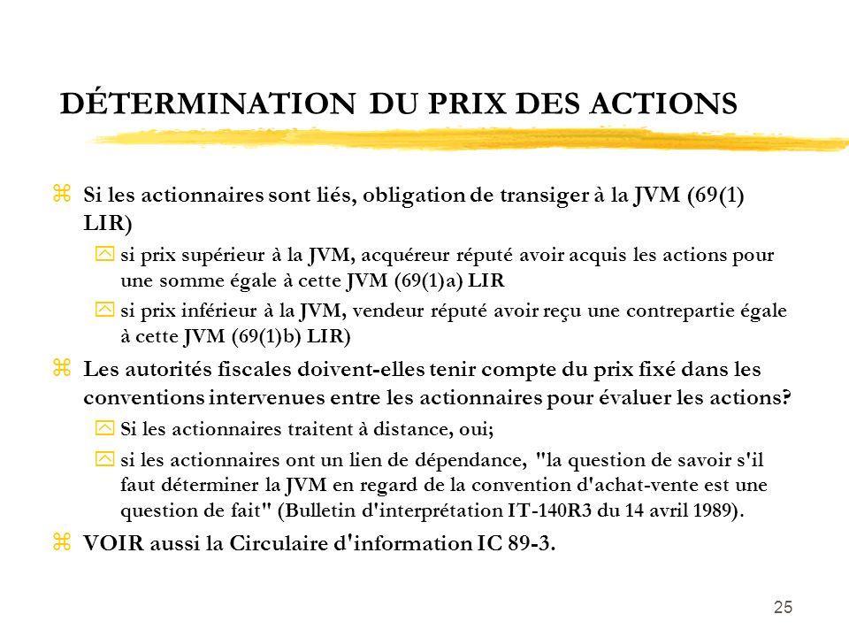 DÉTERMINATION DU PRIX DES ACTIONS