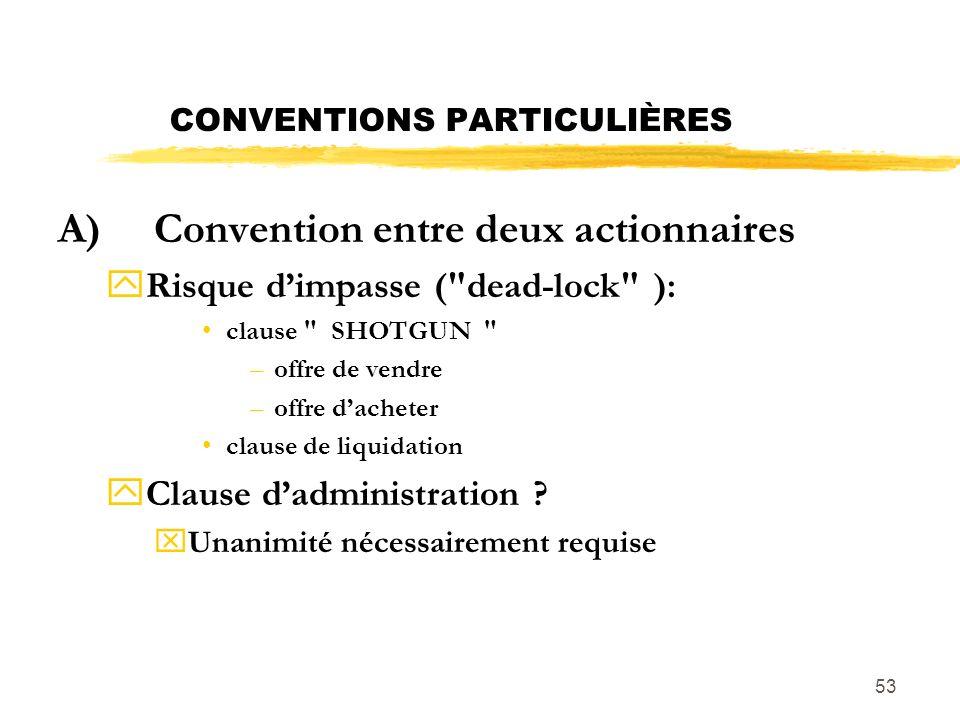 CONVENTIONS PARTICULIÈRES