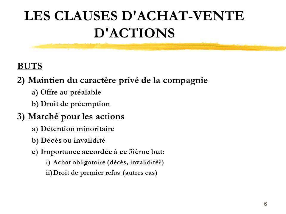 LES CLAUSES D ACHAT-VENTE D ACTIONS