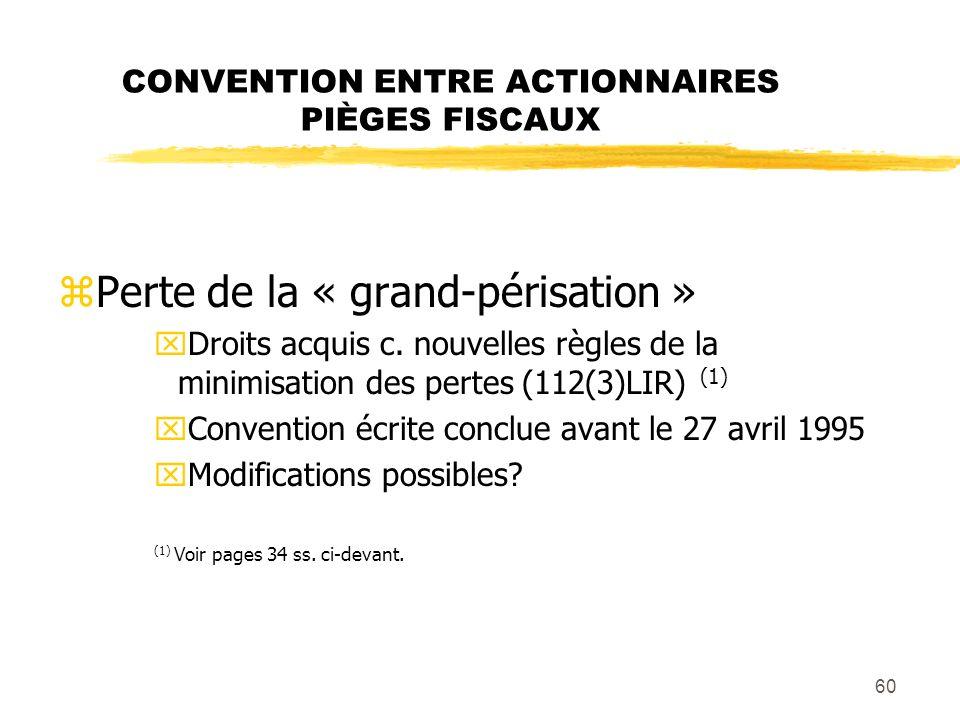 CONVENTION ENTRE ACTIONNAIRES PIÈGES FISCAUX