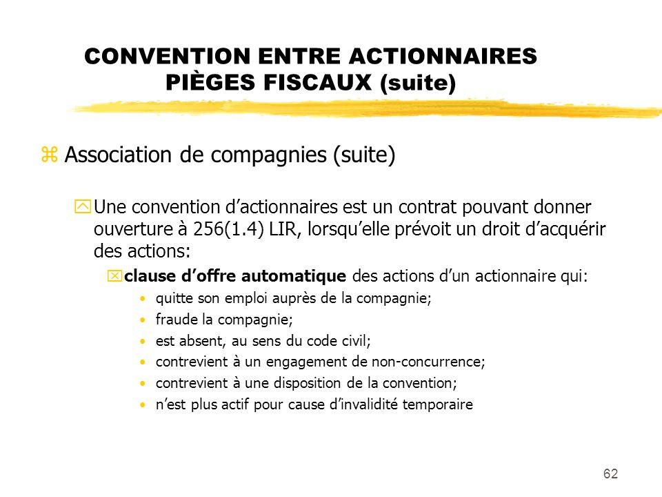 CONVENTION ENTRE ACTIONNAIRES PIÈGES FISCAUX (suite)