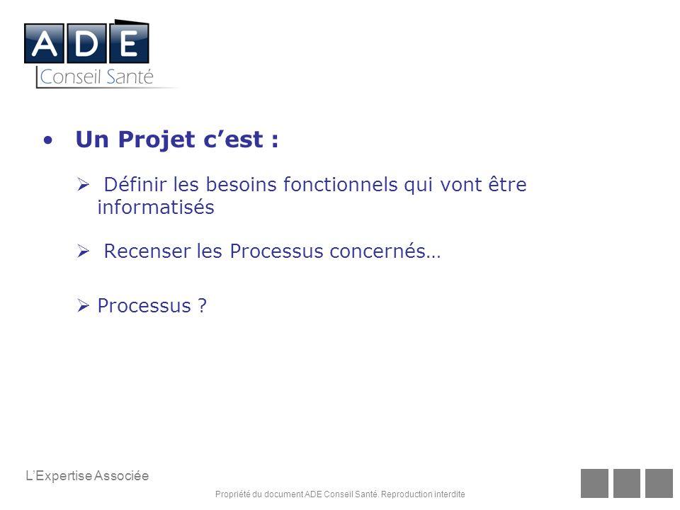 Un Projet c'est : Définir les besoins fonctionnels qui vont être informatisés. Recenser les Processus concernés…