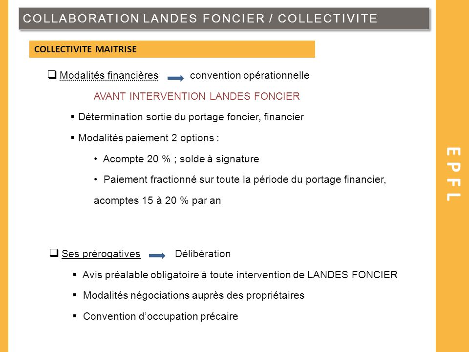 EPFL COLLABORATION LANDES FONCIER / COLLECTIVITE