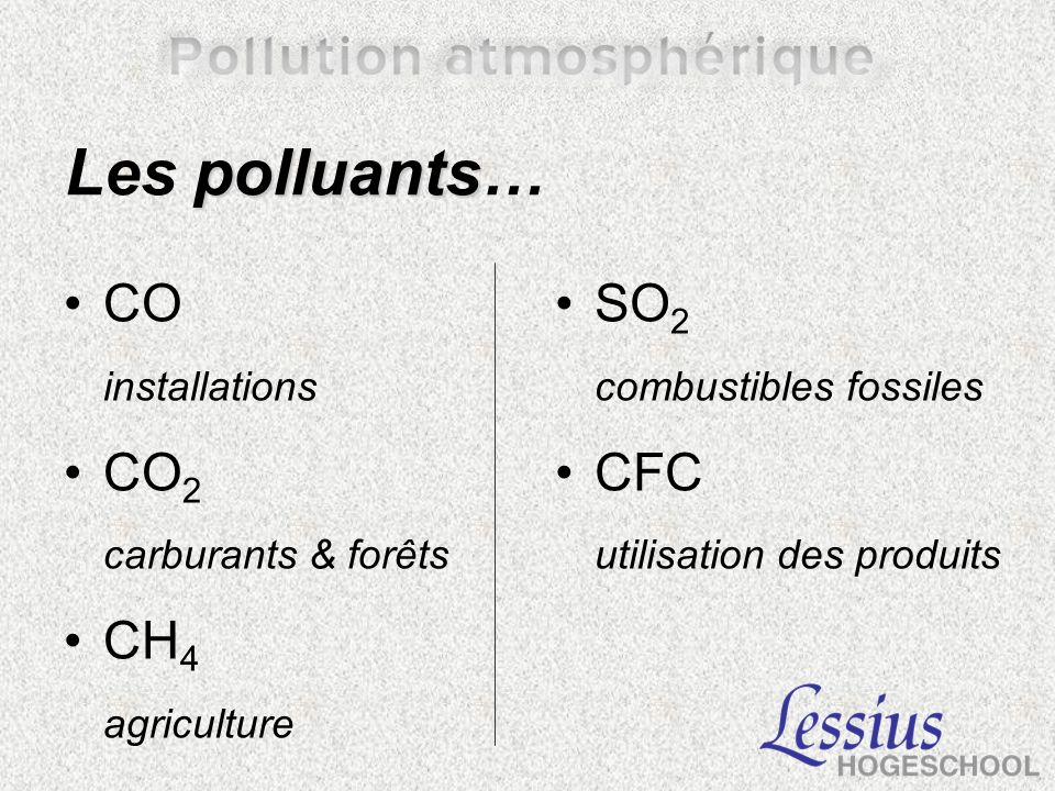 Les polluants… CO CO2 CH4 SO2 CFC installations carburants & forêts