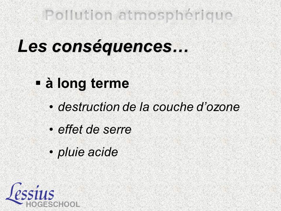 Les conséquences… à long terme destruction de la couche d'ozone