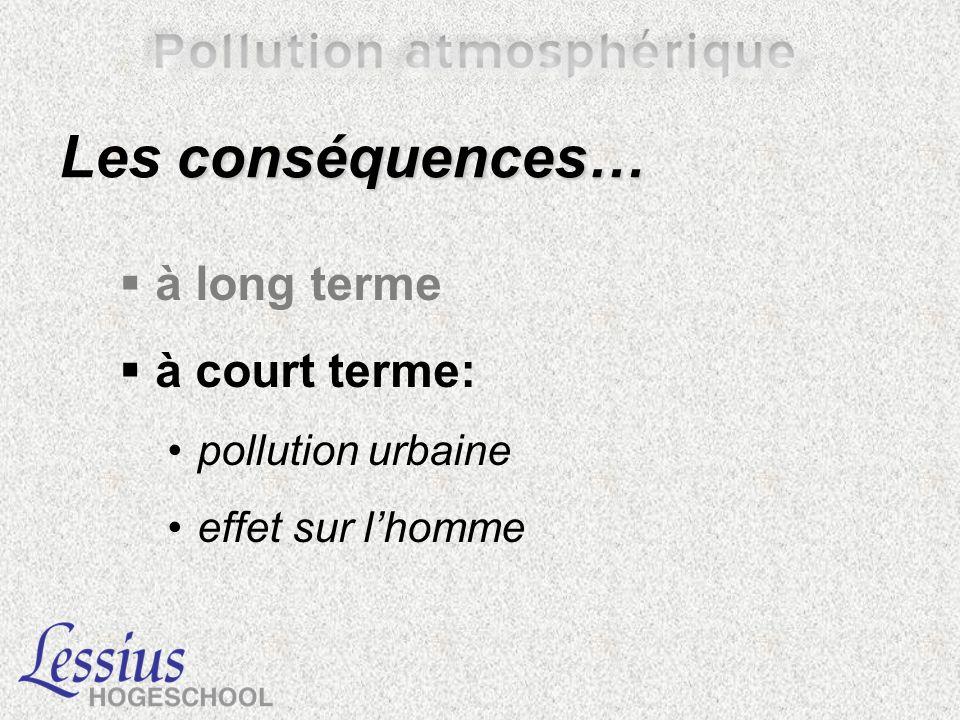 Les conséquences… à long terme à court terme: pollution urbaine