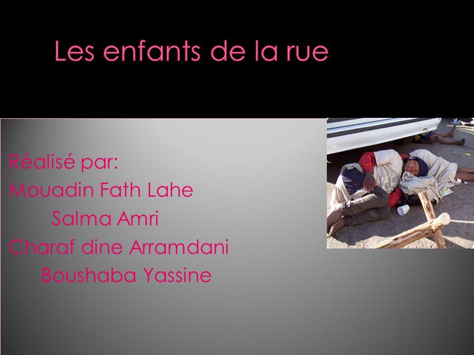 Les enfants de la rue Réalisé par: Mouadin Fath Lahe Salma Amri Charaf dine Arramdani Boushaba Yassine