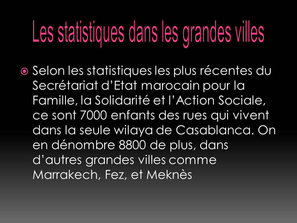 Les statistiques dans les grandes villes
