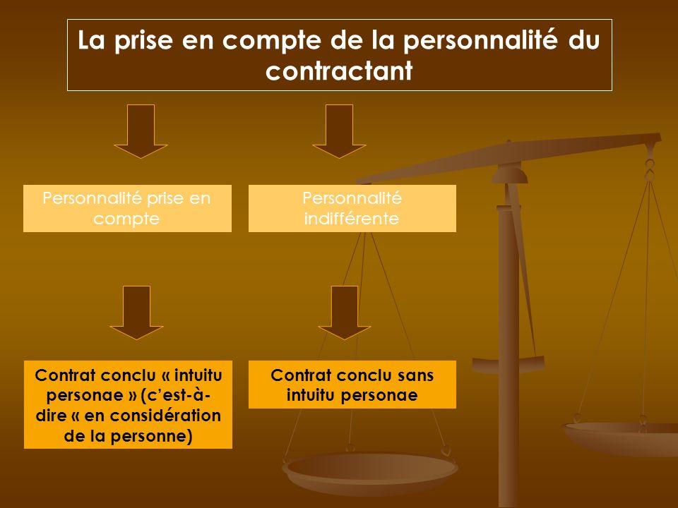La prise en compte de la personnalité du contractant