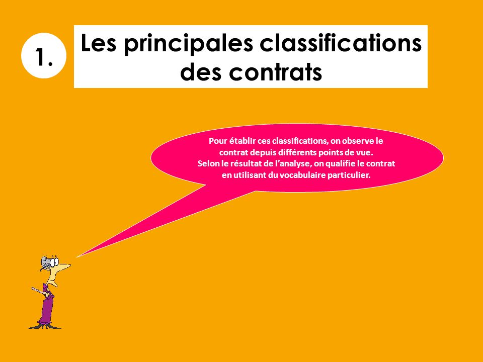 Les principales classifications des contrats