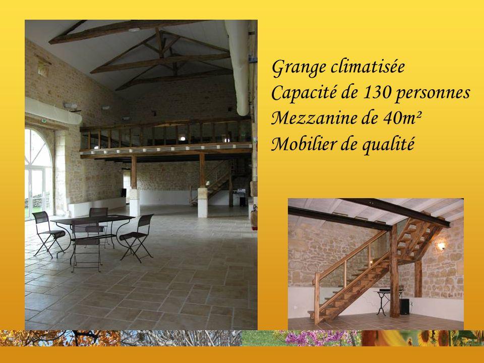 Grange climatisée Capacité de 130 personnes Mezzanine de 40m² Mobilier de qualité