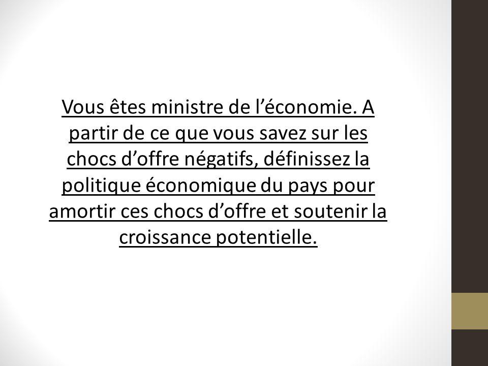 Vous êtes ministre de l'économie
