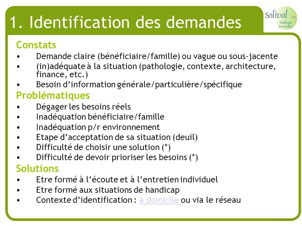 1. Identification des demandes