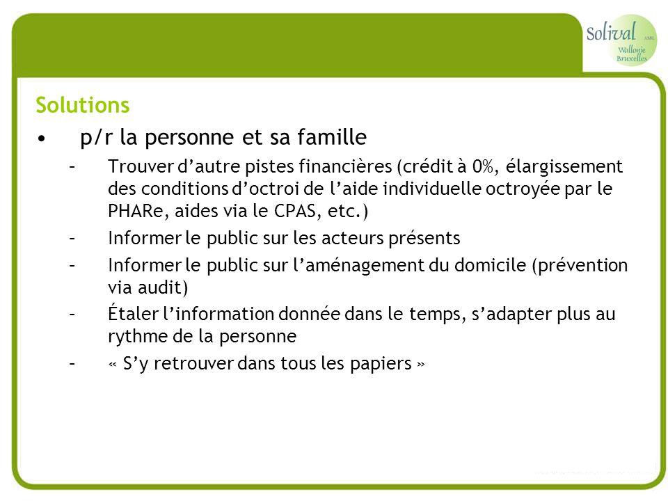 p/r la personne et sa famille