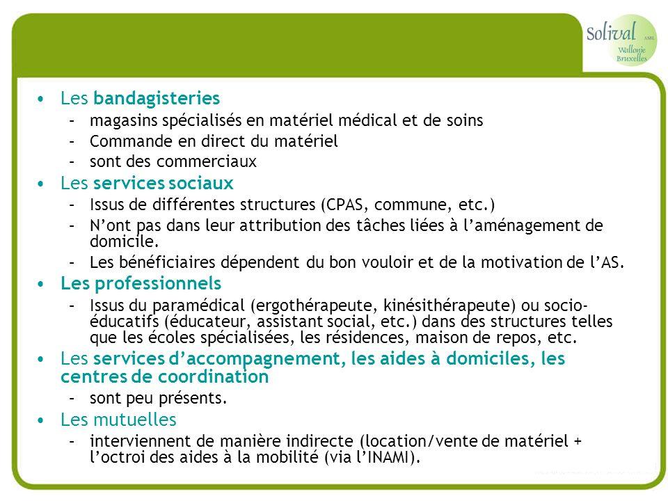 Les bandagisteries Les services sociaux Les professionnels